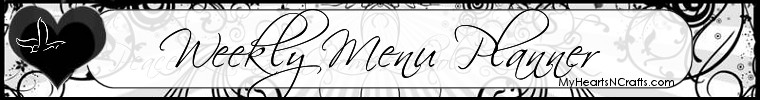 Weekly Menu Planner by MyHeartsNCrafts.com